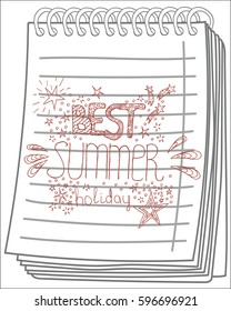 expression Best Summer holiday on notebook background. Vector illustration.