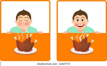 expression for a boy smell the fragrance of fried chicken and desirous of food