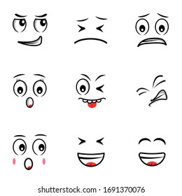 Expression and Emoticon icons set vector illustrations. Smile, Angry, Cute, Sad, Fun. Pixel perfect. Editable Stroke.