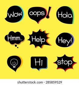 EXPRESSION ICON different style speech bubble graphics with popular expression words.