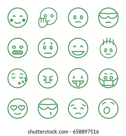 Expression icons set. set of 16 expression outline icons such as laughing emot, blush, sad emot