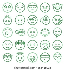 Expression icons set. set of 25 expression outline icons such as laughing emot, emoji in mask, sad emot