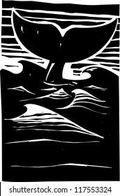 Expressionist woodcut style Whale tale or fluke rising above dark waves on the ocean.
