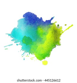 Expressive abstract watercolor stain with splashes and drops of multicolor. Design background for banner and flyers