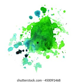 Expressive abstract watercolor stain with splashes and drops of green color. Design background for banner and flyers