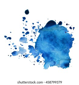 Expressive abstract watercolor stain with splashes and drops of blue color.