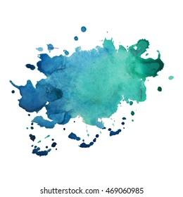Expressive abstract watercolor stain with splashes and drops of turquoise color. Watercolor background