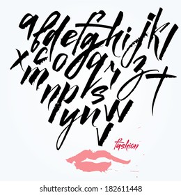 Expressive calligraphic script. Lots of blots and splashes.