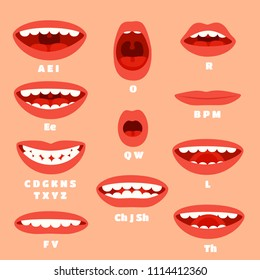Expressive cartoon mouth articulation, talking lips animations. Lip sync animation phonemes for say expression affront, speaking and animated characters talk accents vector set