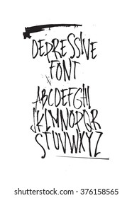 Expressive decorative font. Style hand drawn calligraphy alphabet typeface