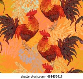 expressive decorative seamless pattern with cocks - a symbol of New Year 2017. fiery red rooster of the Chinese calendar. background for textile printing.