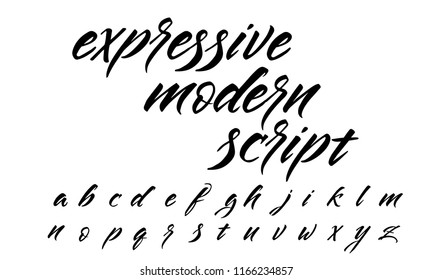 Expressive lettering script. Modern brush calligraphy on qhite background