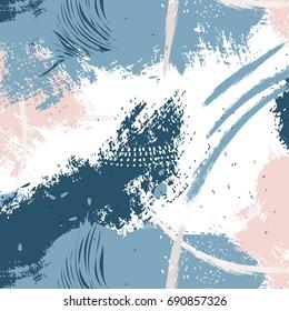Expressive navy pink blue  minimalistic pattern. Contemporary rose pastel decoration. Hipster hand drawn pastel brush print. Stylish vector geometric strokes fantasy print .Speed style art