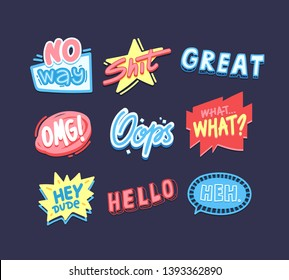 Expressive sayings flat vector stickers pack. Creative social media cartoon messages. Greeting card, postcard typography design. Hello, oops, OMG letterings. Trendy slang phrases collection