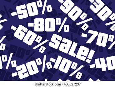 Expressive seamless sale background in blue