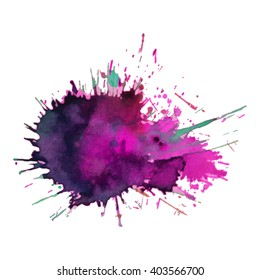 expressive watercolor spot blotch with splashes pink violet purple color. Banner for text, grunge element for decoration