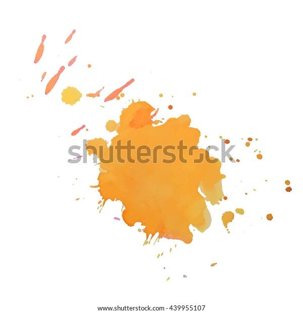 Expressive Watercolor Spot Splash Yellow Color Stock Vector