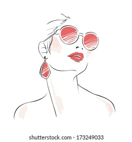 Expressive woman portrait with sunglasses and ear drops isolated vector illustration