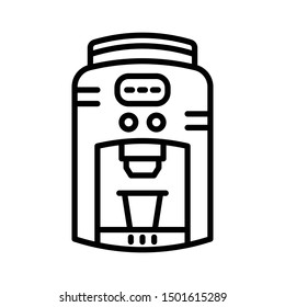 Expresso Machine Icon Vector Illustration. Line Style With Grey Background. Suitable for Web, Icon, App, Mobile, Technology, Coffe Shop, Coffe, Bar, Restaurant, Menu. etc