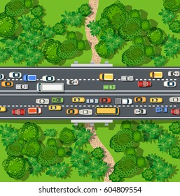 Expressway with a jam cork of cars and automobile in the nature with trees. Top view of city map
