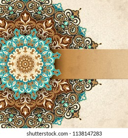 Exquisite arabesque pattern in brown and turquoise tone with blank banner for design uses