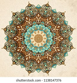 Exquisite arabesque pattern in brown and turquoise tone