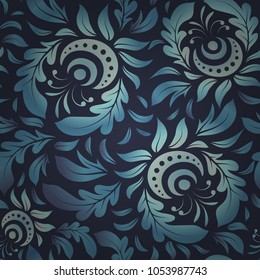 Exquisite baroque template. Vector damask seamless pattern element in blue and violet colors. Classical luxury old fashioned damask ornament, royal victorian seamless texture for textile, wrapping.
