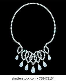 exquisite diamond necklace with pendant diamonds of drop-shaped shape