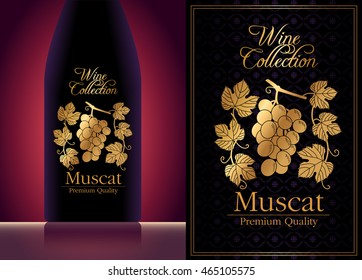 exquisite elegant wine label template with gold stamping.