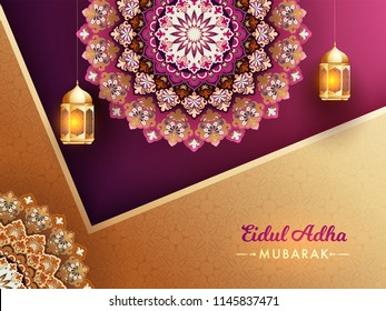 Exquisite floral pattern and golden lanterns on fuchsia and golden background. Islamic festival of sacrifice, Eid-Ul-Adha Mubarak  background.