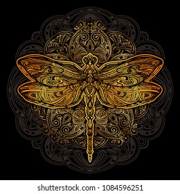 Exquisite golden ornate stylized dragonfly against the background of the mandala. Spiritual, esoteric, totem symbol. Ethnic tribal patterns with elements of Ar Nouveau and Boho.