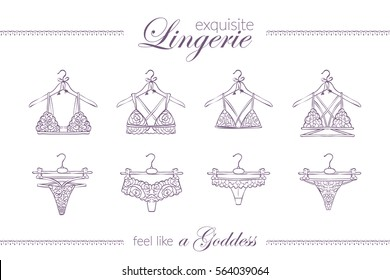 exquisite lingerie on hangers, hand drawn sketch of four lace sets, sexy line