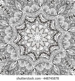 Exquisite mandala pattern design in black and white. Decorative elements
