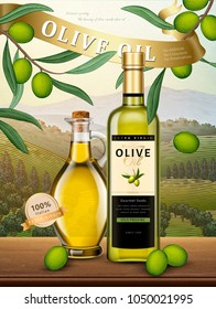 Exquisite olive oil product in 3d illustration on natural orchard in engraving style