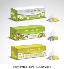 Exquisite organic herbal tea blends pyramid teabags box packages realistic set with chamomile lavender flavors vector illustration