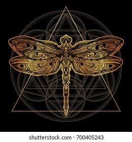 Exquisite ornate stylized dragonfly. Spiritual, esoteric, totem symbol of Africa, India, America. Ethnic tribal patterns with elements of Ar Nouveau and Boho. For tattoo, design for T-shirt, fabric