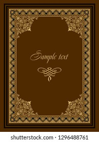 Exquisite rich floral ornament pattern, golden geometric frame, brown background