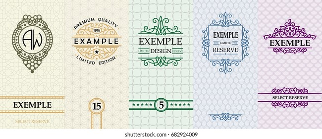 Exquisite set of design templates for label and package of Whiskey, wine, rum, liqueurs, vodka.