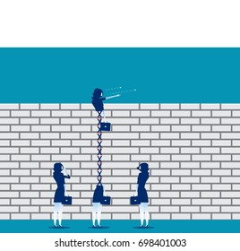 Extended business leader looking over brick wall. Concept business vector illustration.