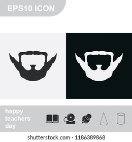 Extended goatee style. Beard and mustache flat black and white vector icon.