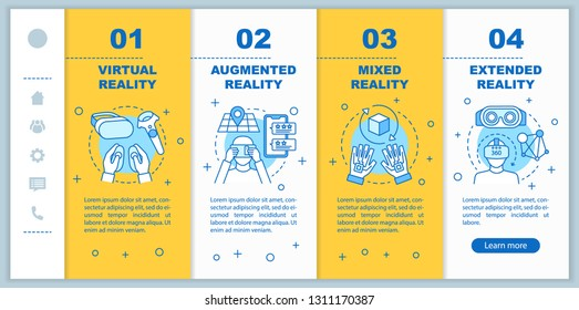 Extended reality onboarding mobile web pages vector template. Virtual, mixed, augmented realities. Responsive smartphone website interface idea. Webpage walkthrough step screens. Color concept