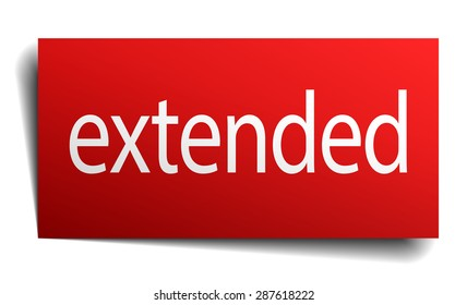extended red square isolated paper sign on white