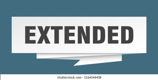 extended sign. extended paper origami speech bubble. extended tag. extended banner