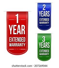 Extended warranty banner design set over a white background, vector illustration
