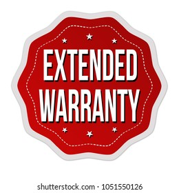 Extended warranty label or sticker on white background, vector illustration
