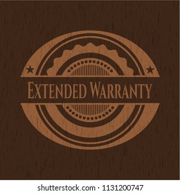 Extended Warranty wooden emblem. Retro