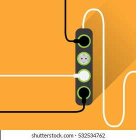 extension power strip in yellow background