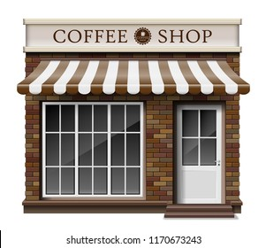 Exterior coffee boutique shop or cafe brick texture. Blank mockup of stylish realistic coffee street shop. Small 3d store front facade. vector illustration