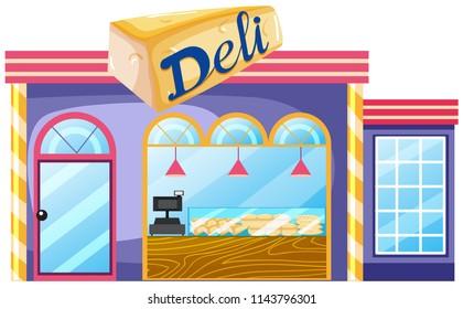 Exterior of deli shop illustration