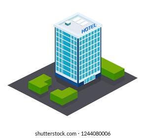 Exterior of facade, building of modern hotel, with adjacent territory, landscape. House of multi-storey hotel, high skyscraper, public building hostel for rest, stopping tourists. Isometric vector.